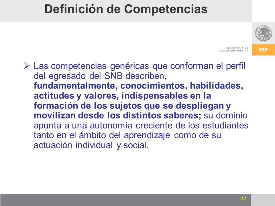 22 Definición de Competencias Las competencias genéricas que conforman el perfil del egresado del SNB describen, fundamentalmente, conocimientos, habi