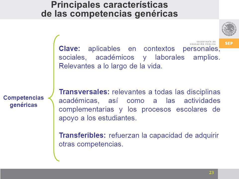23 Competencias genéricas Clave: aplicables en contextos personales, sociales, académicos y laborales amplios. Relevantes a lo largo de la vida. Trans