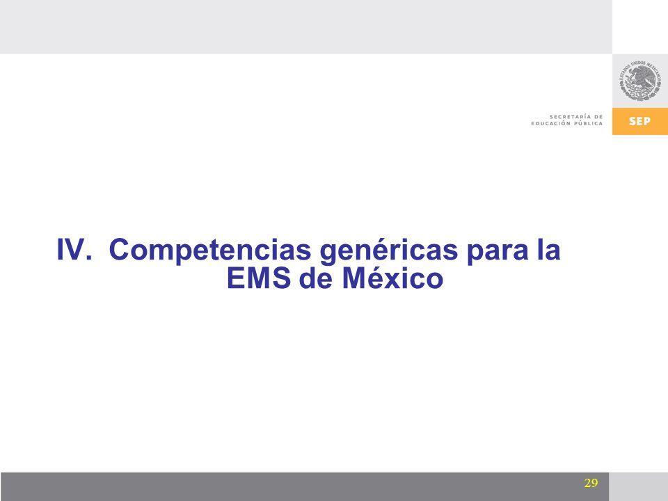29 IV.Competencias genéricas para la EMS de México