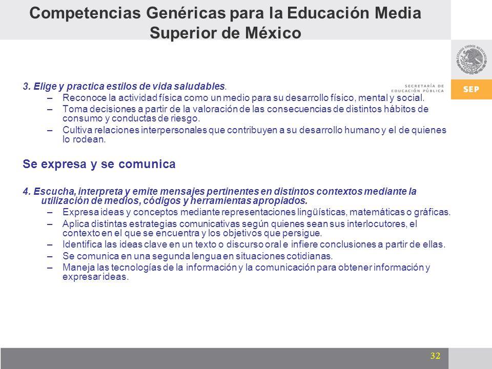 32 Competencias Genéricas para la Educación Media Superior de México 3. Elige y practica estilos de vida saludables. –Reconoce la actividad física com