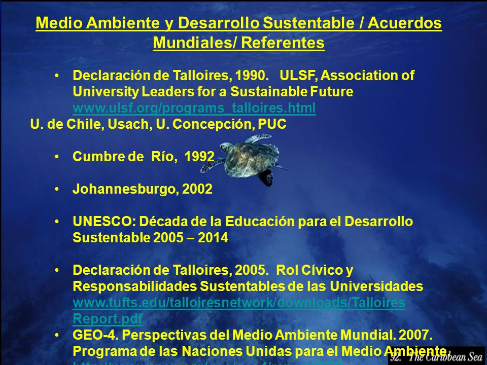 Medio Ambiente y Desarrollo Sustentable / Acuerdos Mundiales/ Referentes Declaración de Talloires, 1990. ULSF, Association of University Leaders for a