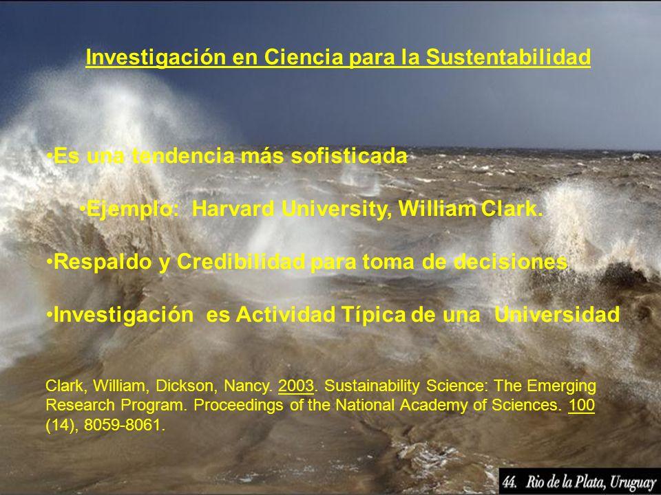 Investigación en Ciencia para la Sustentabilidad Es una tendencia más sofisticada Ejemplo: Harvard University, William Clark. Respaldo y Credibilidad