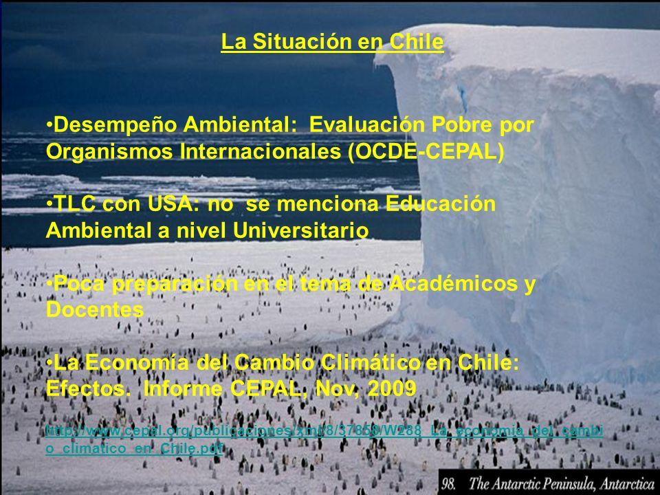 La Situación en Chile Desempeño Ambiental: Evaluación Pobre por Organismos Internacionales (OCDE-CEPAL) TLC con USA: no se menciona Educación Ambienta