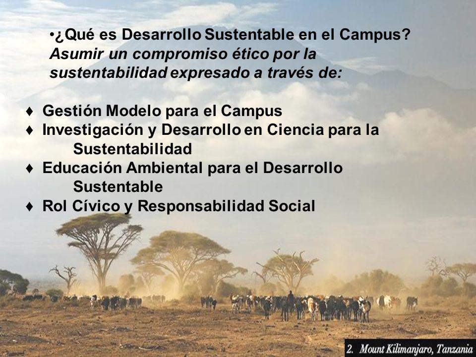 ¿Qué es Desarrollo Sustentable en el Campus? Asumir un compromiso ético por la sustentabilidad expresado a través de: Gestión Modelo para el Campus In