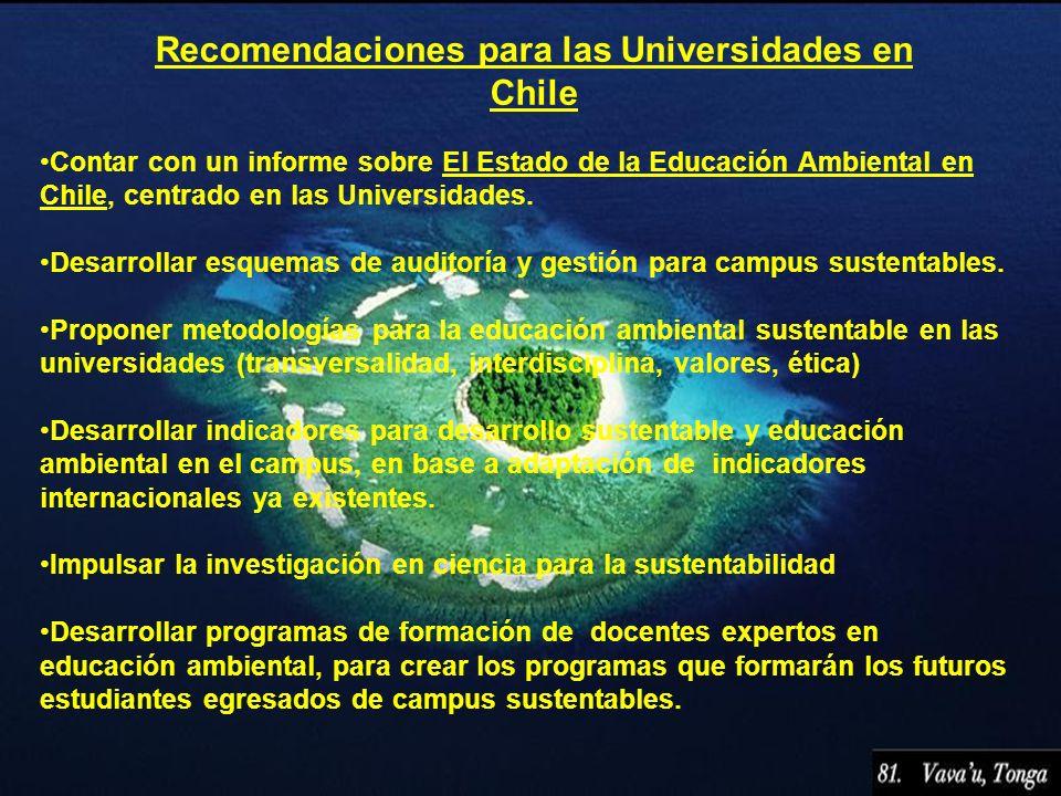 Recomendaciones para las Universidades en Chile Contar con un informe sobre El Estado de la Educación Ambiental en Chile, centrado en las Universidade