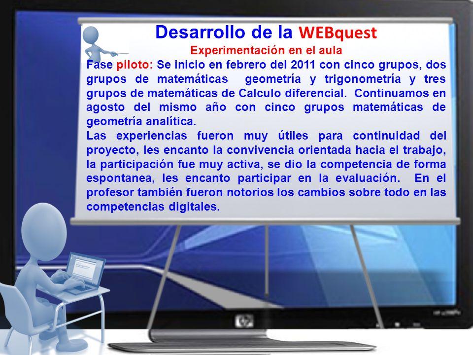Desarrollo de la WEBquest Experimentación en el aula Fase piloto: Se inicio en febrero del 2011 con cinco grupos, dos grupos de matemáticas geometría