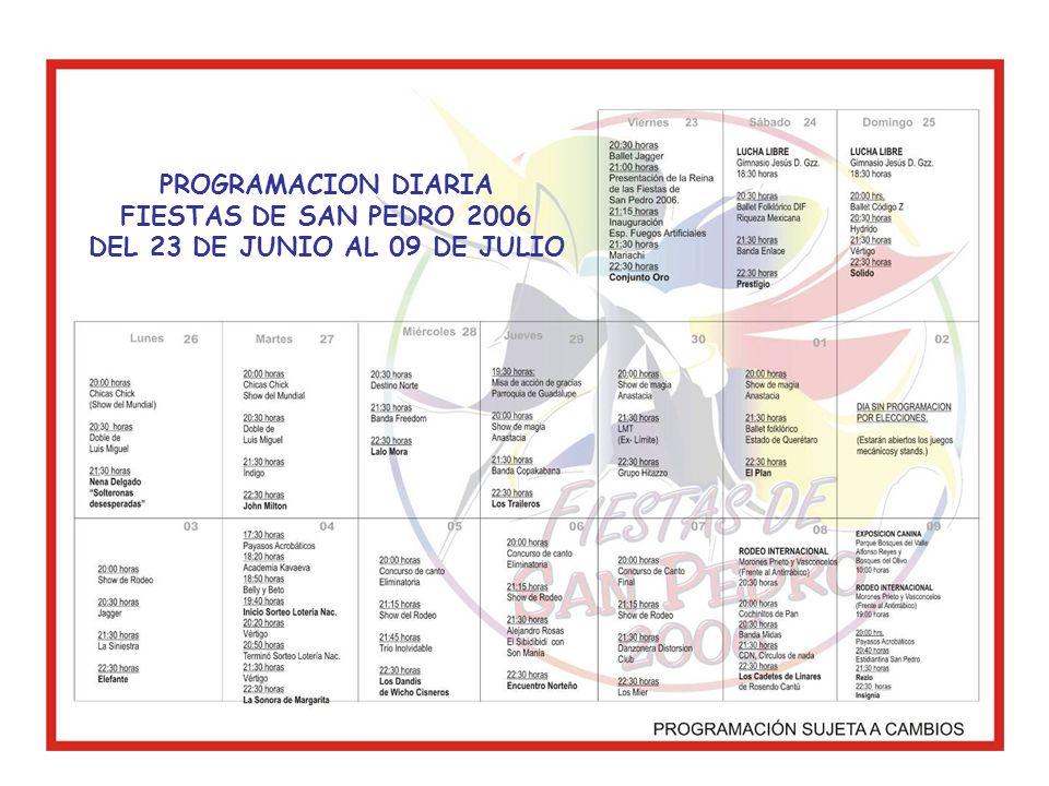 PROGRAMACION DIARIA FIESTAS DE SAN PEDRO 2006 DEL 23 DE JUNIO AL 09 DE JULIO