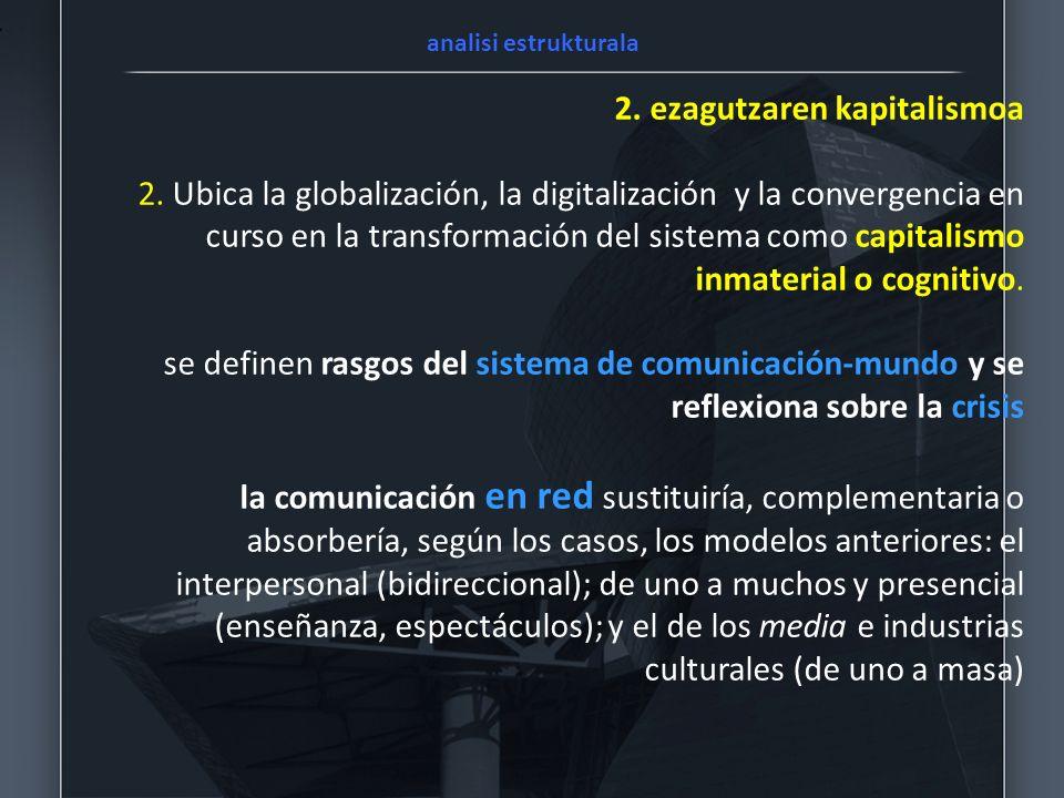 2. ezagutzaren kapitalismoa 2. Ubica la globalización, la digitalización y la convergencia en curso en la transformación del sistema como capitalismo