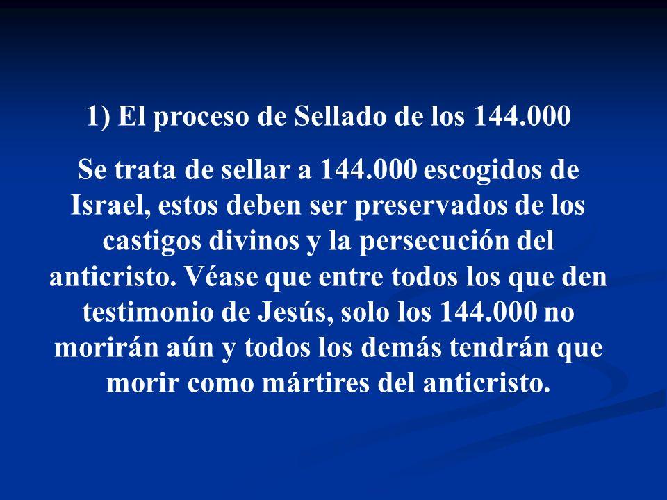 1) El proceso de Sellado de los 144.000 Se trata de sellar a 144.000 escogidos de Israel, estos deben ser preservados de los castigos divinos y la per