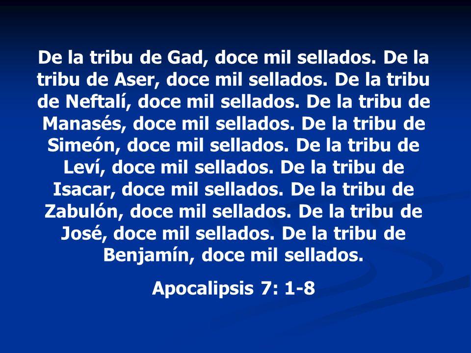 De la tribu de Gad, doce mil sellados. De la tribu de Aser, doce mil sellados. De la tribu de Neftalí, doce mil sellados. De la tribu de Manasés, doce