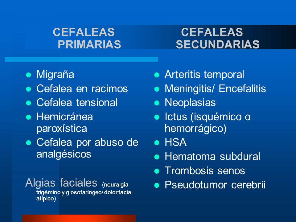 CEFALEAS PRIMARIAS Migraña Cefalea en racimos Cefalea tensional Hemicránea paroxística Cefalea por abuso de analgésicos Algias faciales (neuralgia tri