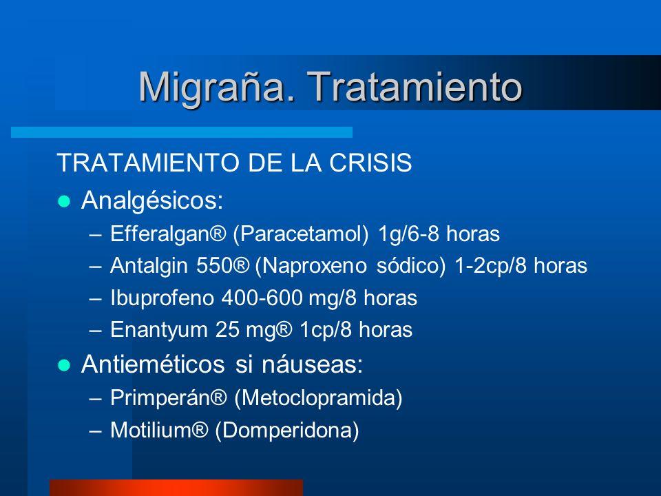 Migraña. Tratamiento TRATAMIENTO DE LA CRISIS Analgésicos: –Efferalgan® (Paracetamol) 1g/6-8 horas –Antalgin 550® (Naproxeno sódico) 1-2cp/8 horas –Ib
