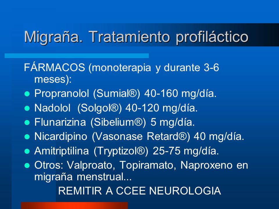 Migraña. Tratamiento profiláctico FÁRMACOS (monoterapia y durante 3-6 meses): Propranolol (Sumial®) 40-160 mg/día. Nadolol (Solgol®) 40-120 mg/día. Fl
