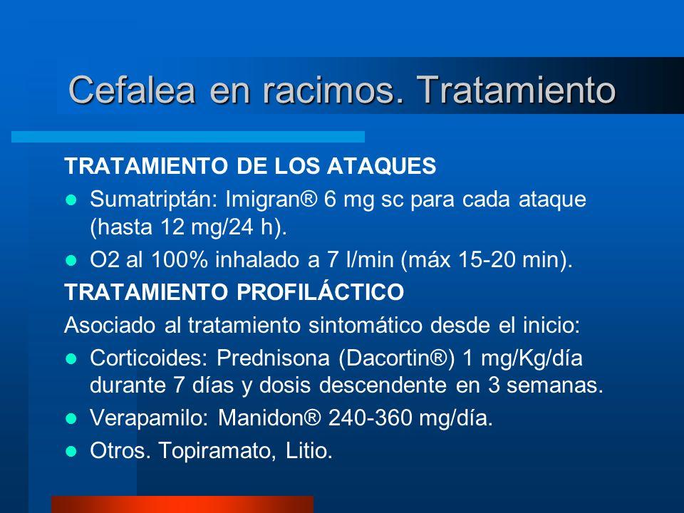 Cefalea en racimos. Tratamiento TRATAMIENTO DE LOS ATAQUES Sumatriptán: Imigran® 6 mg sc para cada ataque (hasta 12 mg/24 h). O2 al 100% inhalado a 7