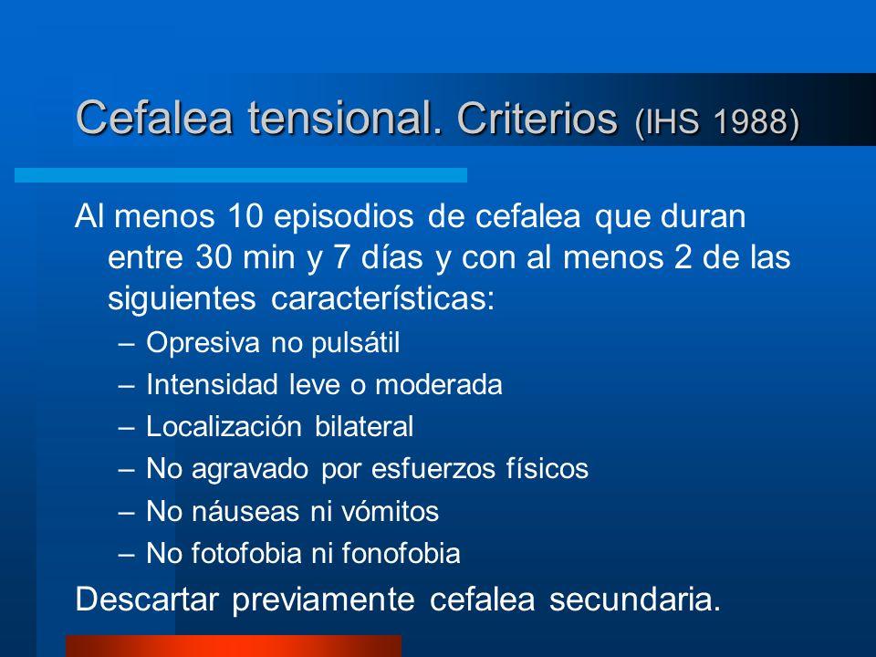 Cefalea tensional. Criterios (IHS 1988) Al menos 10 episodios de cefalea que duran entre 30 min y 7 días y con al menos 2 de las siguientes caracterís