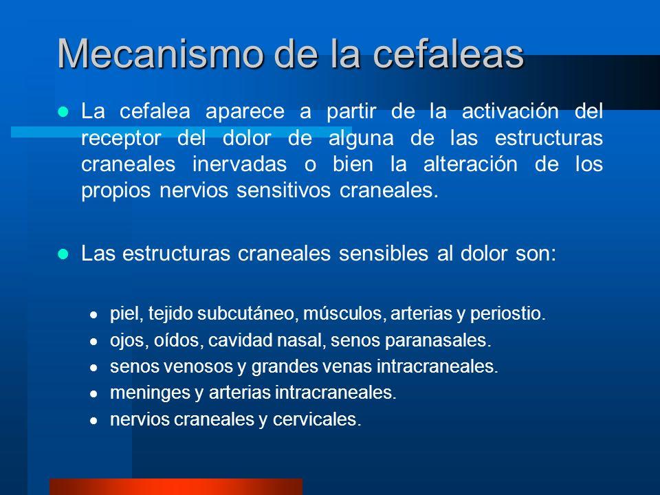 Mecanismo de la cefaleas La cefalea aparece a partir de la activación del receptor del dolor de alguna de las estructuras craneales inervadas o bien l