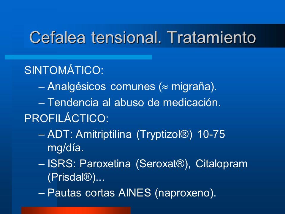 Cefalea tensional. Tratamiento SINTOMÁTICO: –Analgésicos comunes ( migraña). –Tendencia al abuso de medicación. PROFILÁCTICO: –ADT: Amitriptilina (Try