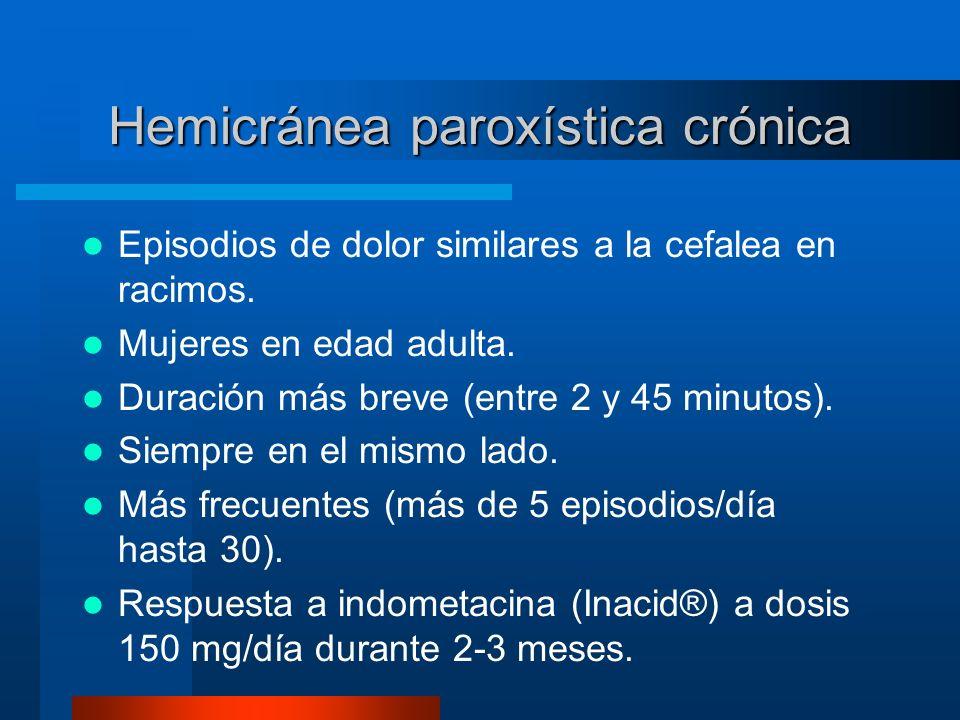 Hemicránea paroxística crónica Episodios de dolor similares a la cefalea en racimos. Mujeres en edad adulta. Duración más breve (entre 2 y 45 minutos)