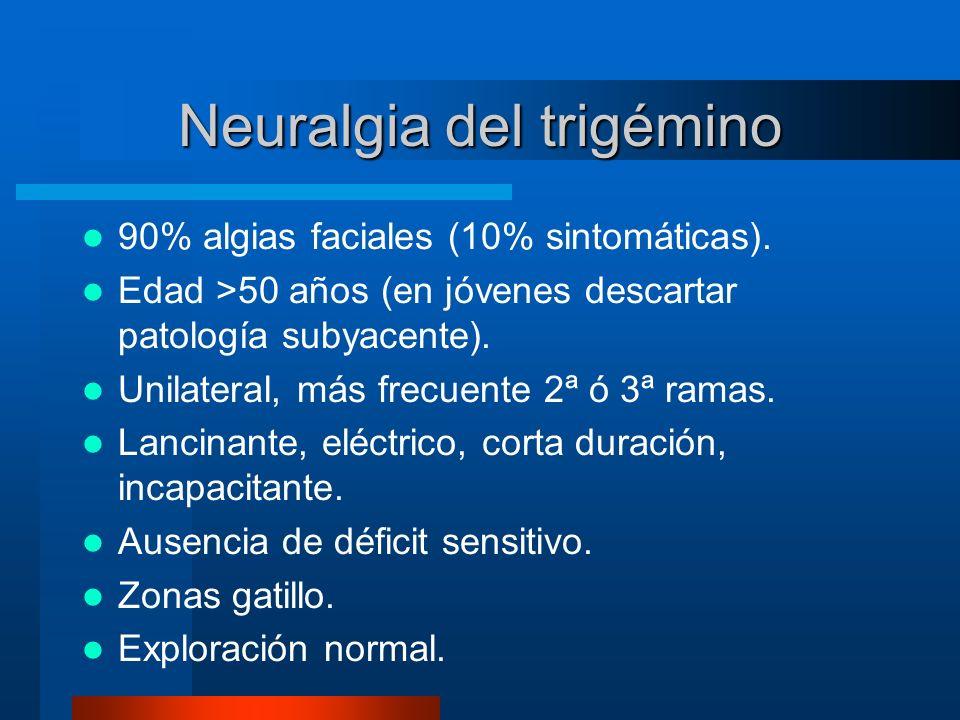 Neuralgia del trigémino 90% algias faciales (10% sintomáticas). Edad >50 años (en jóvenes descartar patología subyacente). Unilateral, más frecuente 2