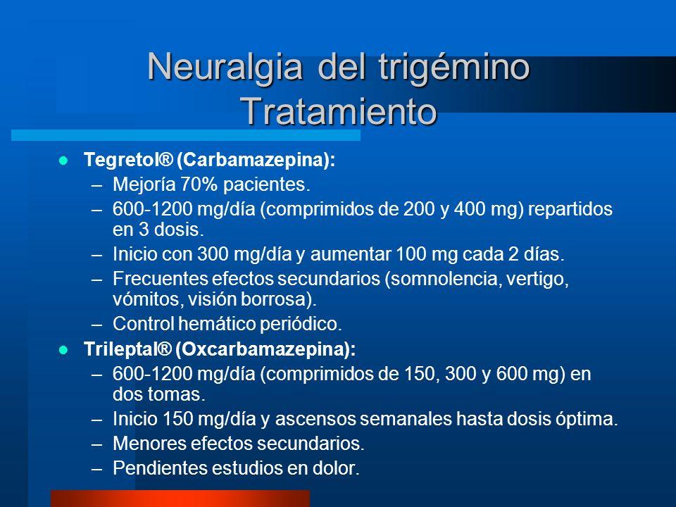 Neuralgia del trigémino Tratamiento Tegretol® (Carbamazepina): –Mejoría 70% pacientes. –600-1200 mg/día (comprimidos de 200 y 400 mg) repartidos en 3