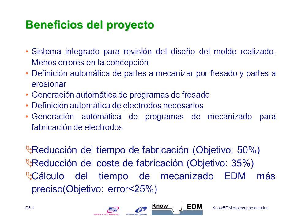 KnowEDM project presentationD8.1 Beneficios del proyecto Sistema integrado para revisión del diseño del molde realizado.