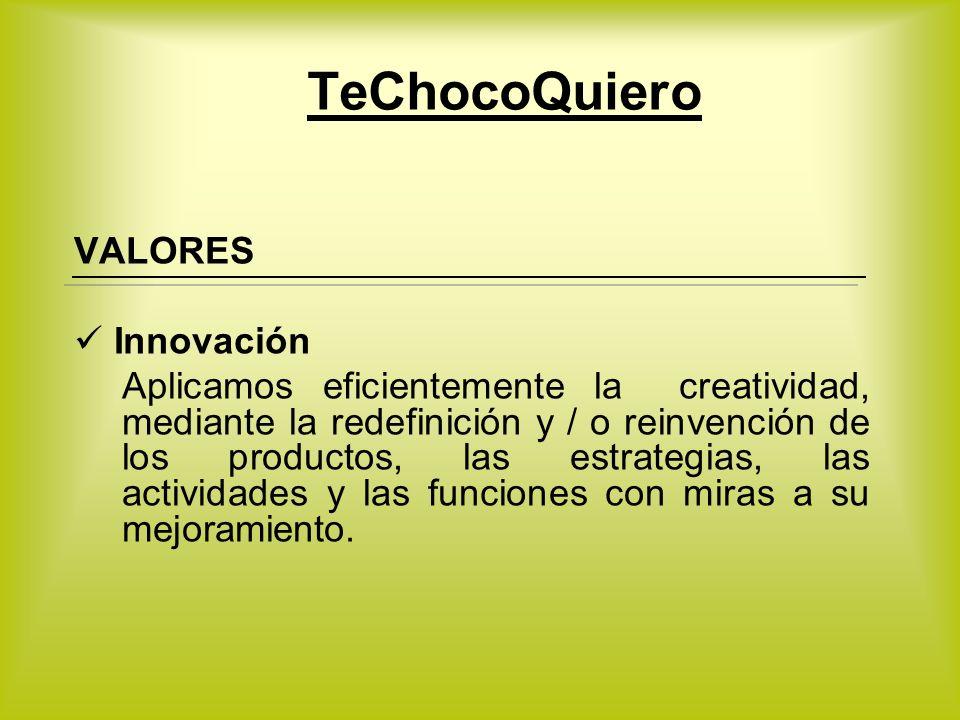 VALORES Innovación Aplicamos eficientemente la creatividad, mediante la redefinición y / o reinvención de los productos, las estrategias, las activida