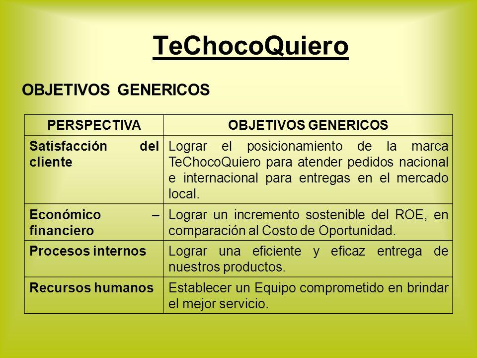 OBJETIVOS GENERICOS PERSPECTIVAOBJETIVOS GENERICOS Satisfacción del cliente Lograr el posicionamiento de la marca TeChocoQuiero para atender pedidos n