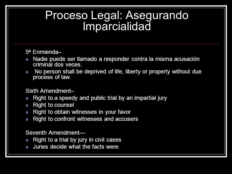 5ª Enmienda– Nadie puede ser llamado a responder contra la misma acusación criminal dos veces. No person shall be deprived of life, liberty or propert