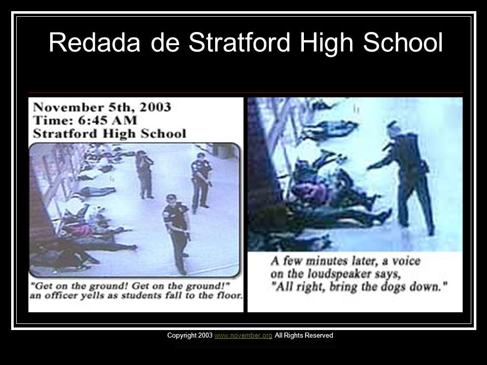 Redada de Stratford High School Basándose en rumores de que un alumno estaba vendiendo drogas, la policía llevo a cabo una redada de la preparatoria Stratford, localizada en Goose Creek, en Carolina del Sur.