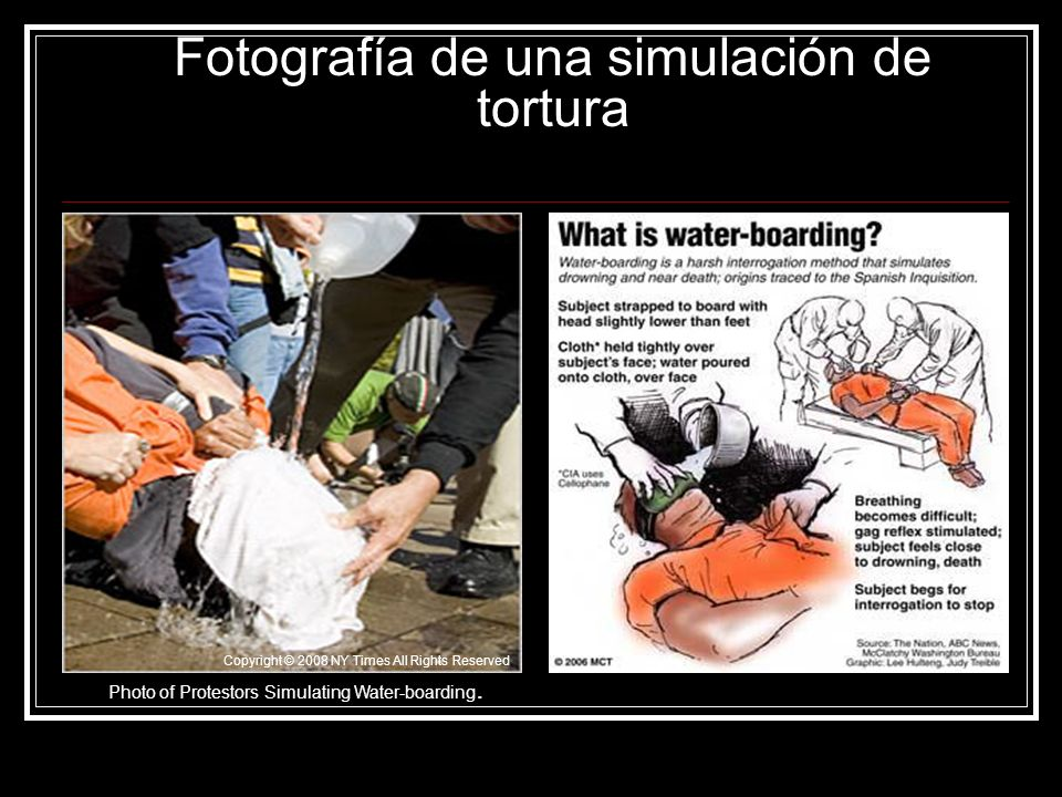 Fotografía de una simulación de tortura Copyright © 2008 NY Times All Rights Reserved Photo of Protestors Simulating Water-boarding.