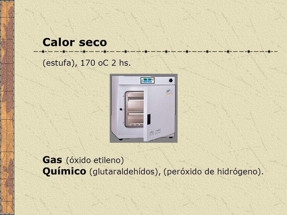 Calor seco (estufa), 170 oC 2 hs. Gas (óxido etileno) Químico (glutaraldehídos), (peróxido de hidrógeno).