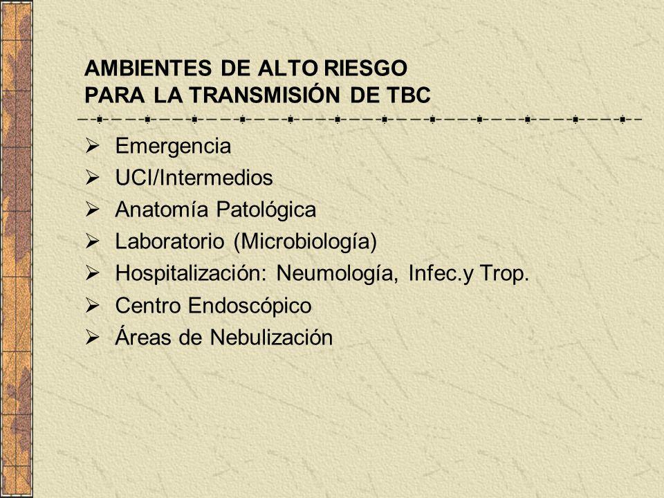 AMBIENTES DE ALTO RIESGO PARA LA TRANSMISIÓN DE TBC Emergencia UCI/Intermedios Anatomía Patológica Laboratorio (Microbiología) Hospitalización: Neumol