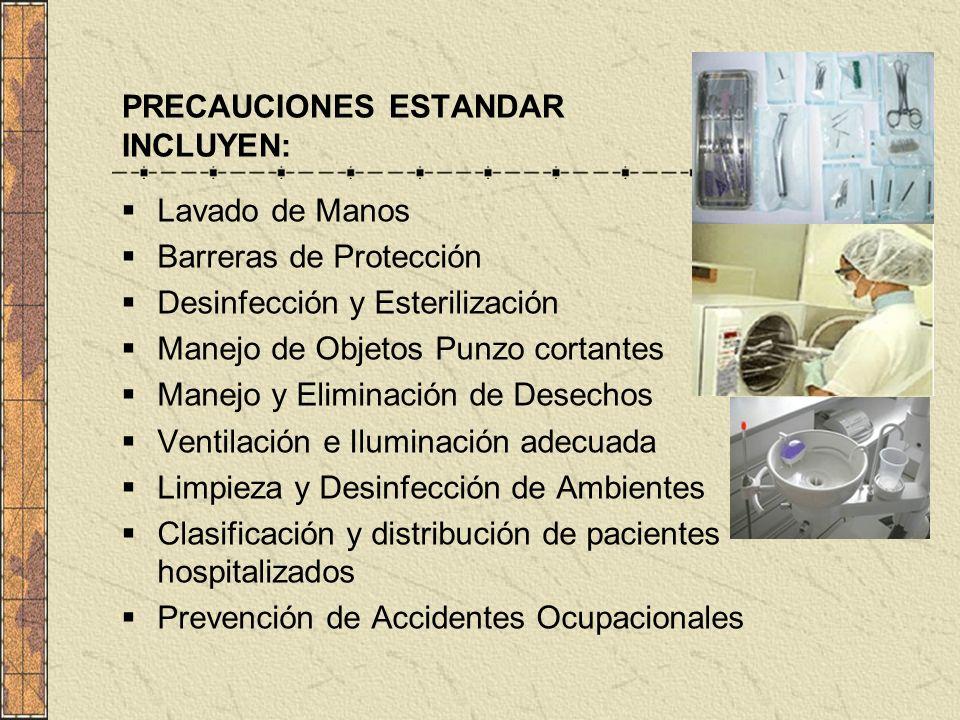 PRECAUCIONES ESTANDAR INCLUYEN: Lavado de Manos Barreras de Protección Desinfección y Esterilización Manejo de Objetos Punzo cortantes Manejo y Elimin
