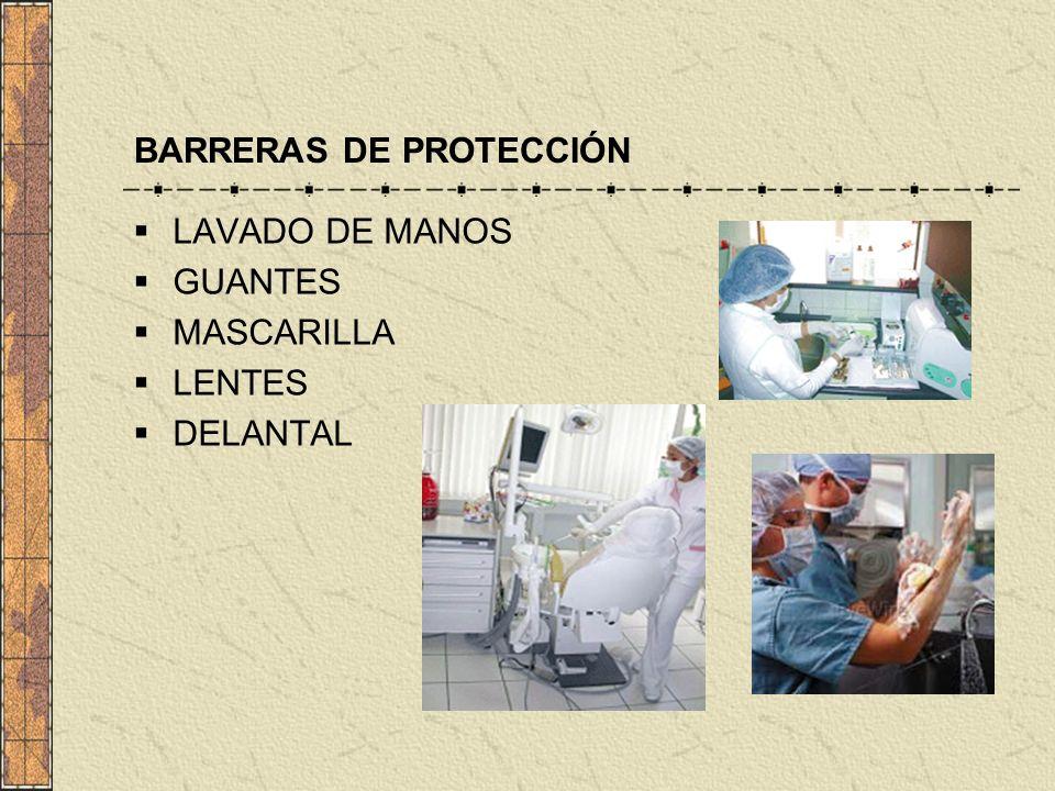 BARRERAS DE PROTECCIÓN LAVADO DE MANOS GUANTES MASCARILLA LENTES DELANTAL