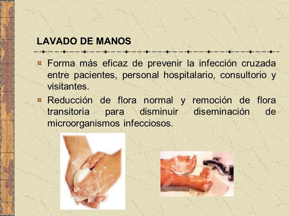 Forma más eficaz de prevenir la infección cruzada entre pacientes, personal hospitalario, consultorio y visitantes. Reducción de flora normal y remoci