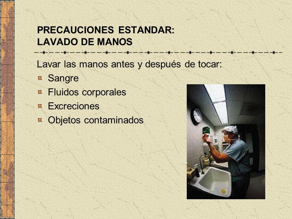 PRECAUCIONES ESTANDAR: LAVADO DE MANOS Lavar las manos antes y después de tocar: Sangre Fluidos corporales Excreciones Objetos contaminados
