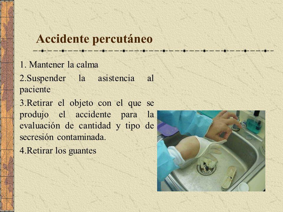Accidente percutáneo 1. Mantener la calma 2.Suspender la asistencia al paciente 3.Retirar el objeto con el que se produjo el accidente para la evaluac