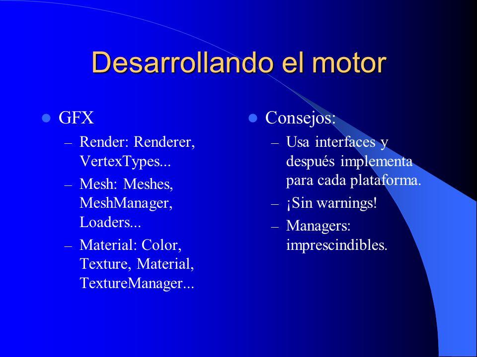 Desarrollando el motor GFX – Render: Renderer, VertexTypes... – Mesh: Meshes, MeshManager, Loaders... – Material: Color, Texture, Material, TextureMan