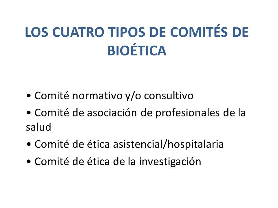 LOS CUATRO TIPOS DE COMITÉS DE BIOÉTICA Comité normativo y/o consultivo Comité de asociación de profesionales de la salud Comité de ética asistencial/