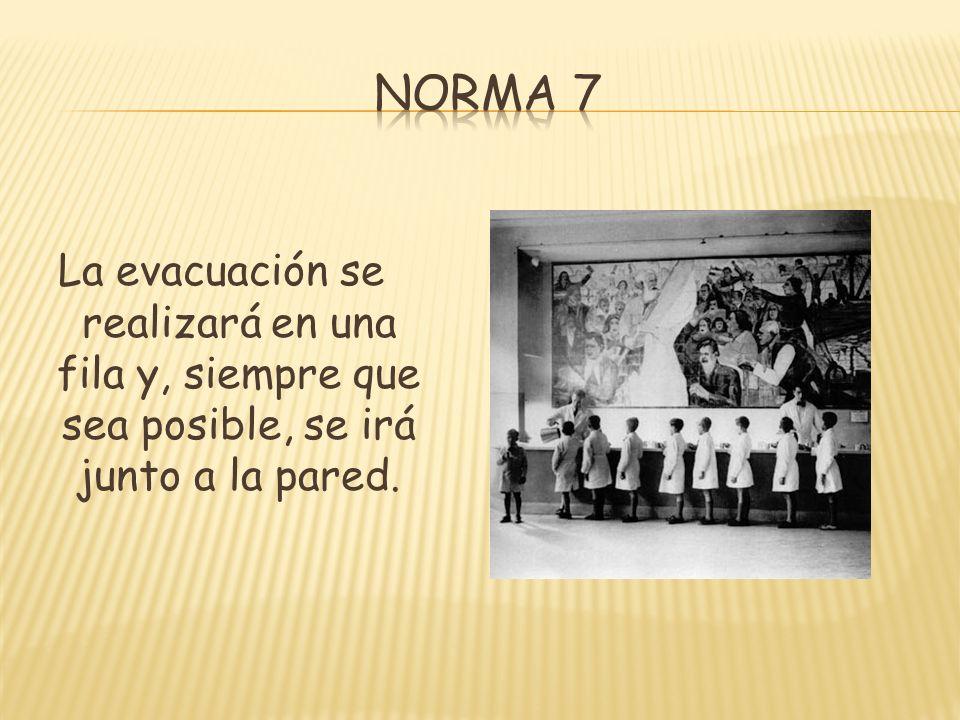 La evacuación se realizará en una fila y, siempre que sea posible, se irá junto a la pared.