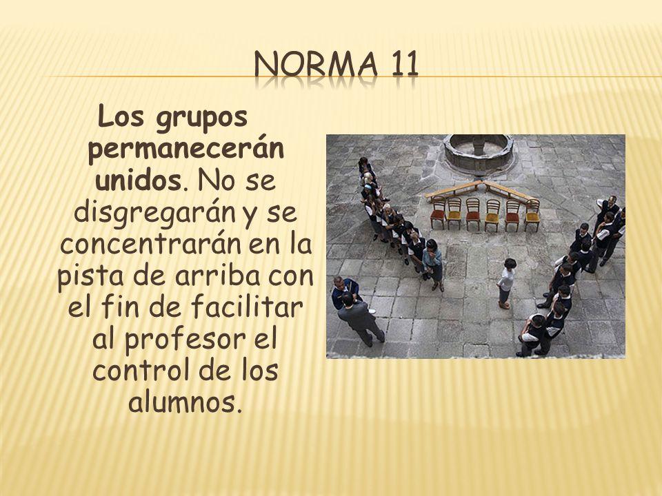 Los grupos permanecerán unidos. No se disgregarán y se concentrarán en la pista de arriba con el fin de facilitar al profesor el control de los alumno