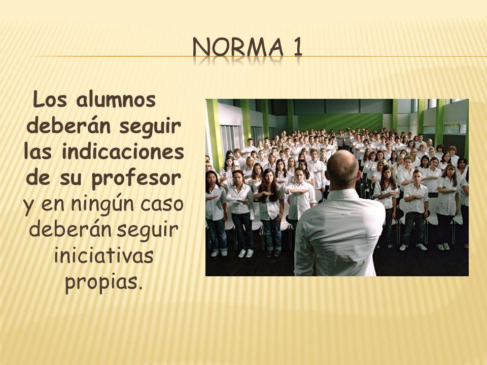 Los alumnos deberán seguir las indicaciones de su profesor y en ningún caso deberán seguir iniciativas propias.