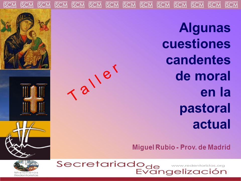 Algunas cuestiones candentes de moral en la pastoral actual T a l l e r Miguel Rubio - Prov.