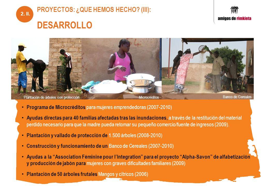 Programa de Microcréditos para mujeres emprendedoras (2007-2010) Ayudas directas para 40 familias afectadas tras las inundaciones, a través de la rest