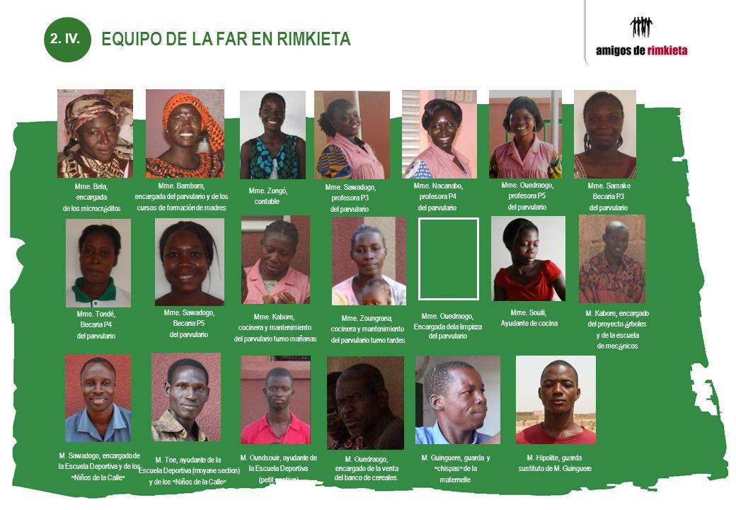 EQUIPO DE LA FAR EN RIMKIETA Mme. Bela, encargada de los microcréditos Mme. Bambara, encargada del parvulario y de los cursos de formación de madres M