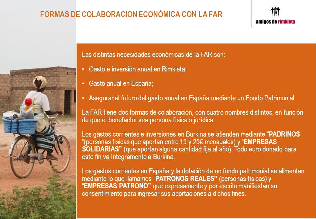 Las distintas necesidades económicas de la FAR son: Gasto e inversión anual en Rimkieta; Gasto anual en España; Asegurar el futuro del gasto anual en