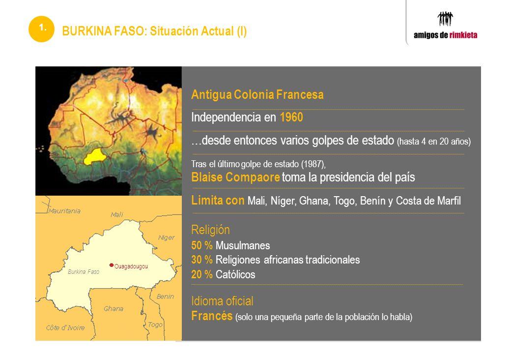 Antigua Colonia Francesa Independencia en 1960 …desde entonces varios golpes de estado (hasta 4 en 20 años) Tras el último golpe de estado (1987), Bla