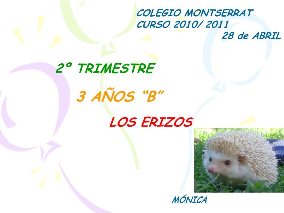 3 AÑOS B MÓNICA COLEGIO MONTSERRAT CURSO 2010/ 2011 28 de ABRIL 2º TRIMESTRE LOS ERIZOS
