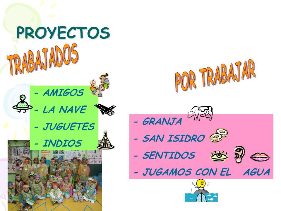 PROYECTOS - AMIGOS - LA NAVE - JUGUETES - INDIOS - GRANJA - SAN ISIDRO - SENTIDOS - JUGAMOS CON EL AGUA