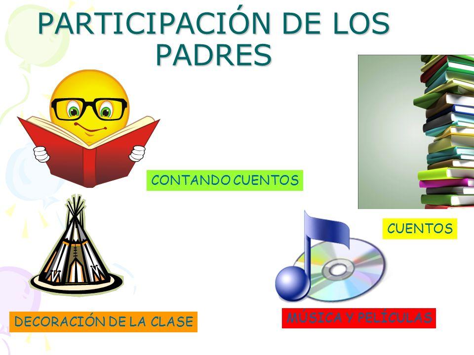 PARTICIPACIÓN DE LOS PADRES CUENTOS MÚSICA Y PELÍCULAS DECORACIÓN DE LA CLASE CONTANDO CUENTOS